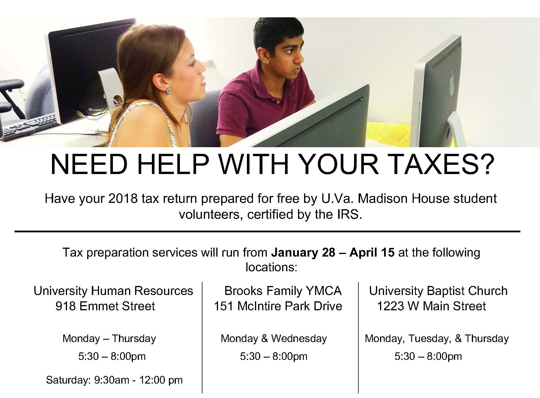 Free Tax Return Preparation Through VITA | UVA HR